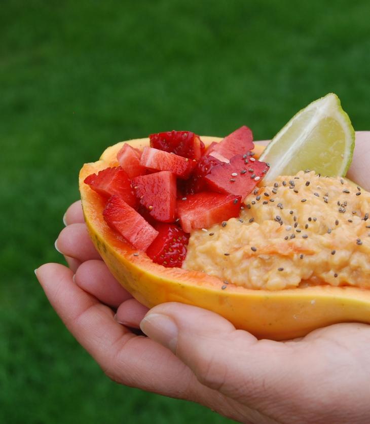 papas de aveia de papaia ou mamao