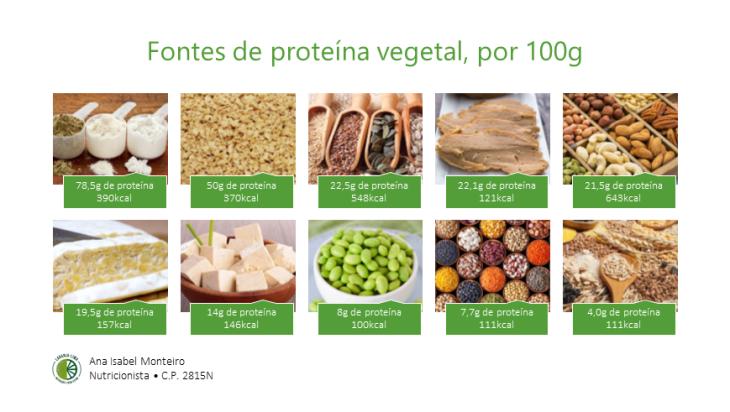 Fontes de proteína vegetal, por 100g
