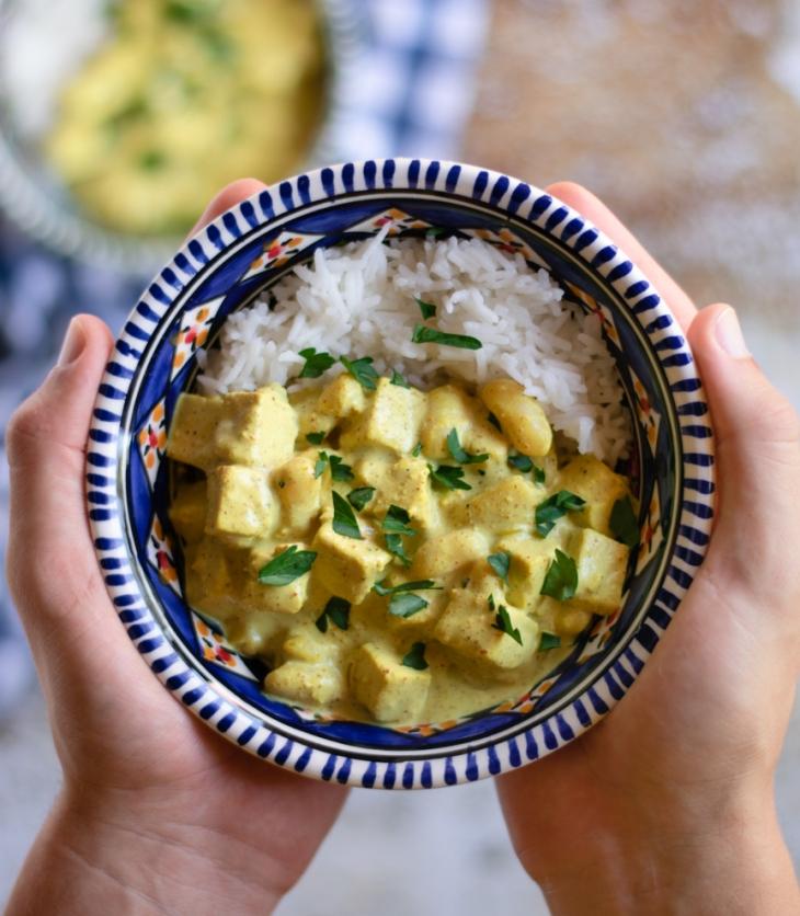 receita caril vegan com tofu