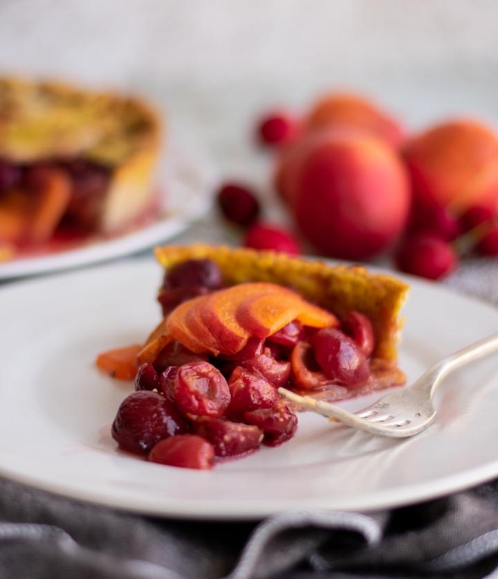 receita de uma deliciosa tarte cerejas pessego feita em casa